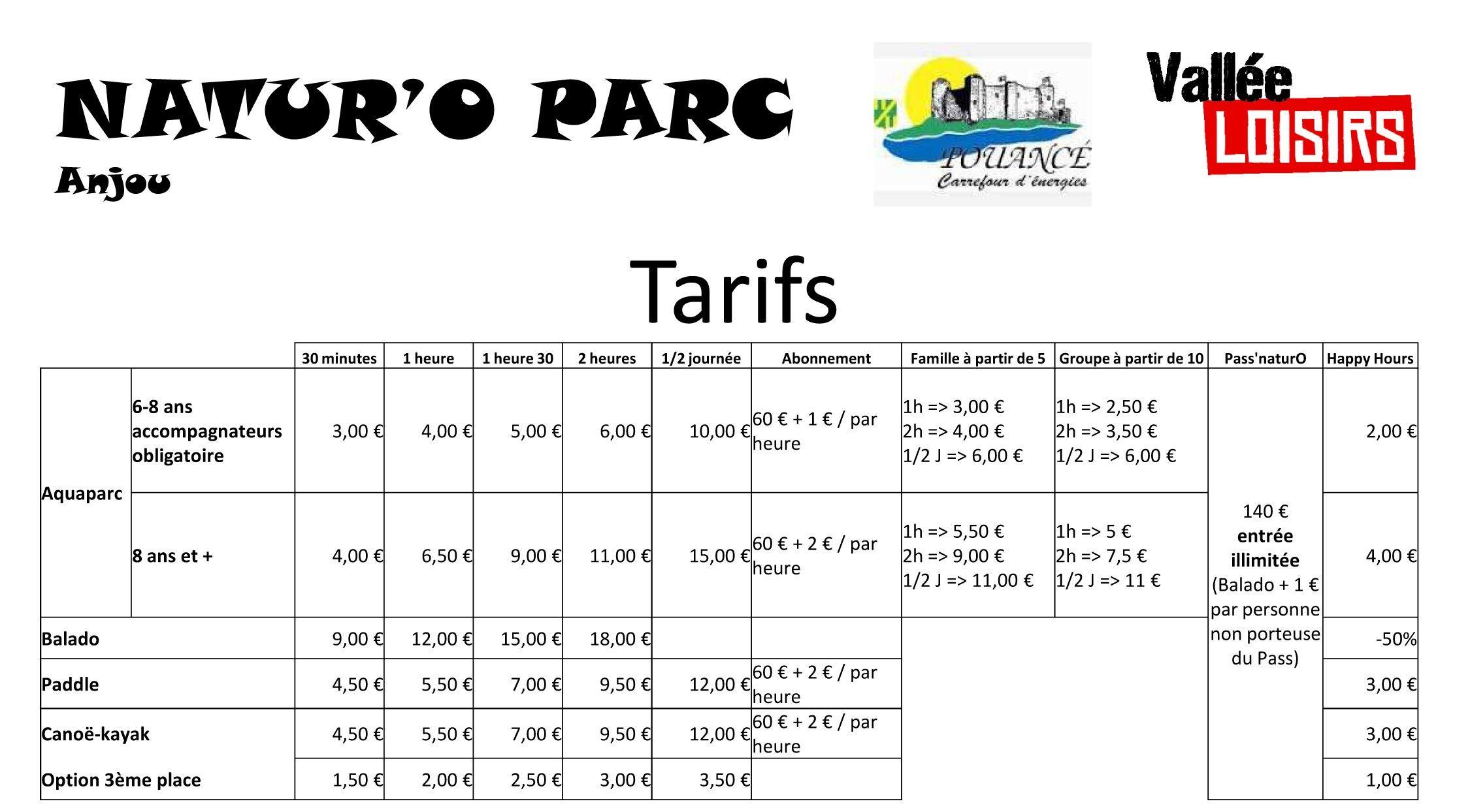 Tarifs Natur'O Parc Anjou
