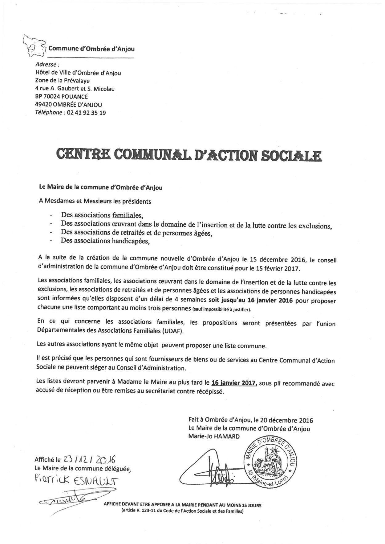 CCAS Constitution Conseil d'Administration de la Commune d'Ombrée d'Anjou