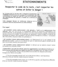 Campagne de sensibilisation et de prévention liée aux stationnements  Gendarmerie